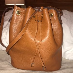 Old Navy Tan Faux-Leather Bucket Cross-Body Bag